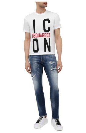 Мужская хлопковая футболка DSQUARED2 белого цвета, арт. S79GC0021/S23009 | Фото 2 (Материал внешний: Хлопок; Длина (для топов): Стандартные; Рукава: Короткие; Принт: С принтом; Стили: Гранж)