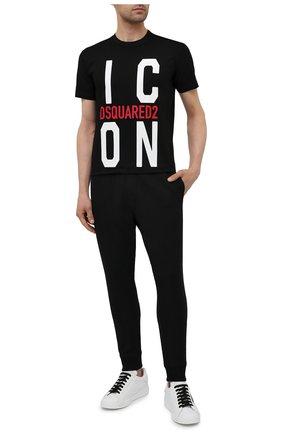 Мужская хлопковая футболка DSQUARED2 черного цвета, арт. S79GC0021/S23009 | Фото 2 (Стили: Гранж; Материал внешний: Хлопок; Принт: С принтом; Рукава: Короткие; Длина (для топов): Стандартные)