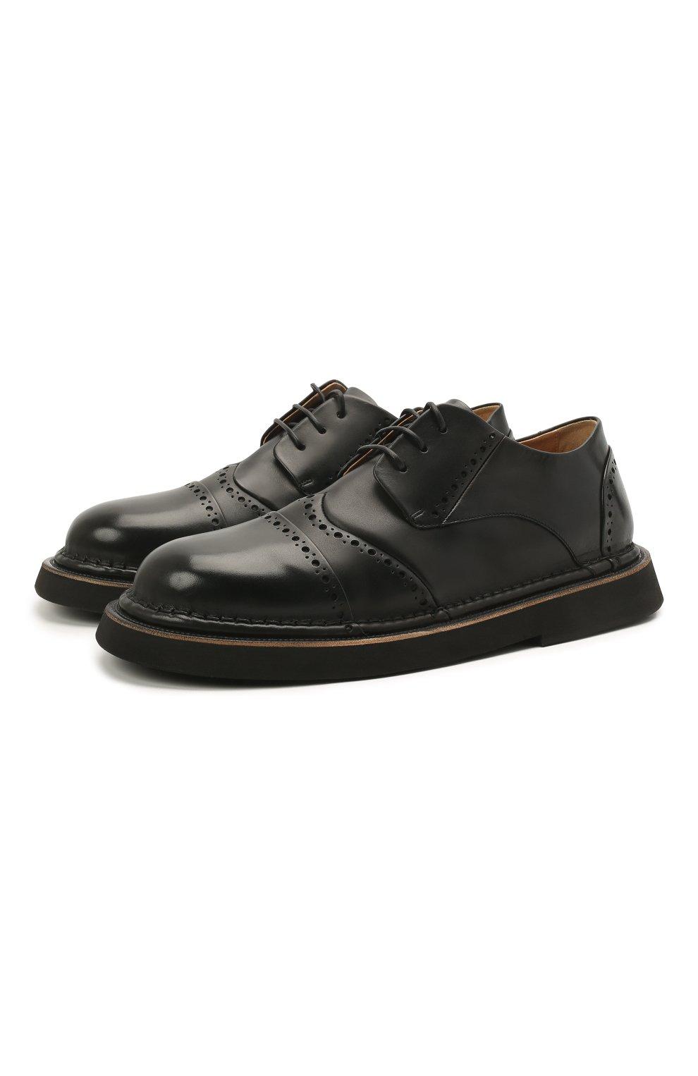 Мужские кожаные дерби MARSELL черного цвета, арт. MM4202/PELLE VITELL0   Фото 1 (Мужское Кросс-КТ: Броги-обувь; Материал внутренний: Натуральная кожа; Стили: Классический)
