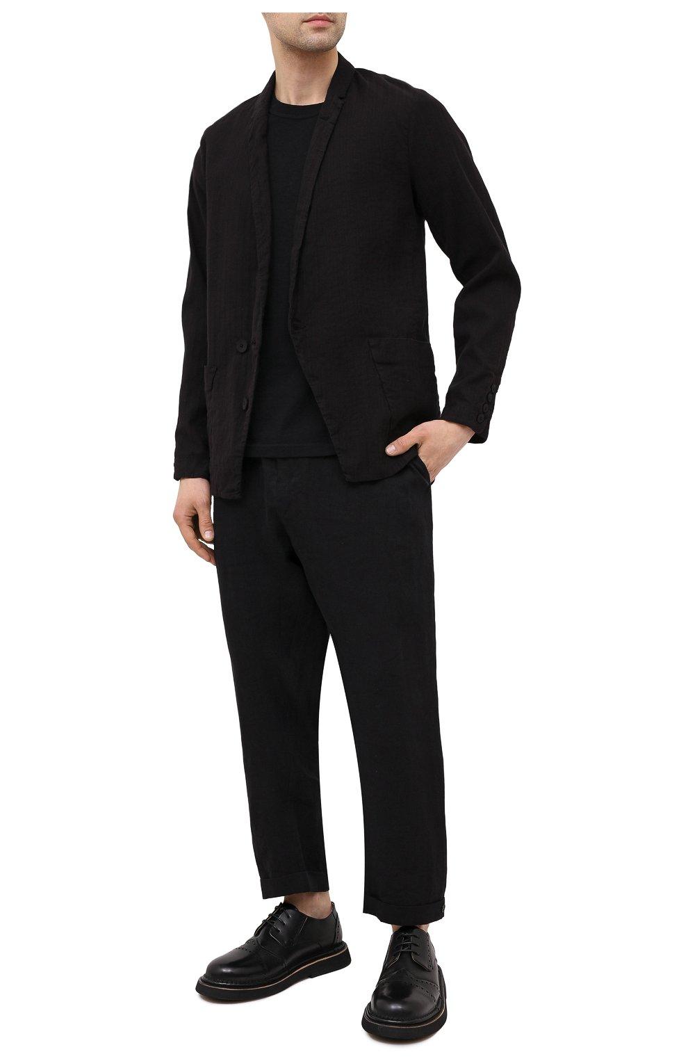 Мужские кожаные дерби MARSELL черного цвета, арт. MM4202/PELLE VITELL0   Фото 2 (Мужское Кросс-КТ: Броги-обувь; Материал внутренний: Натуральная кожа; Стили: Классический)