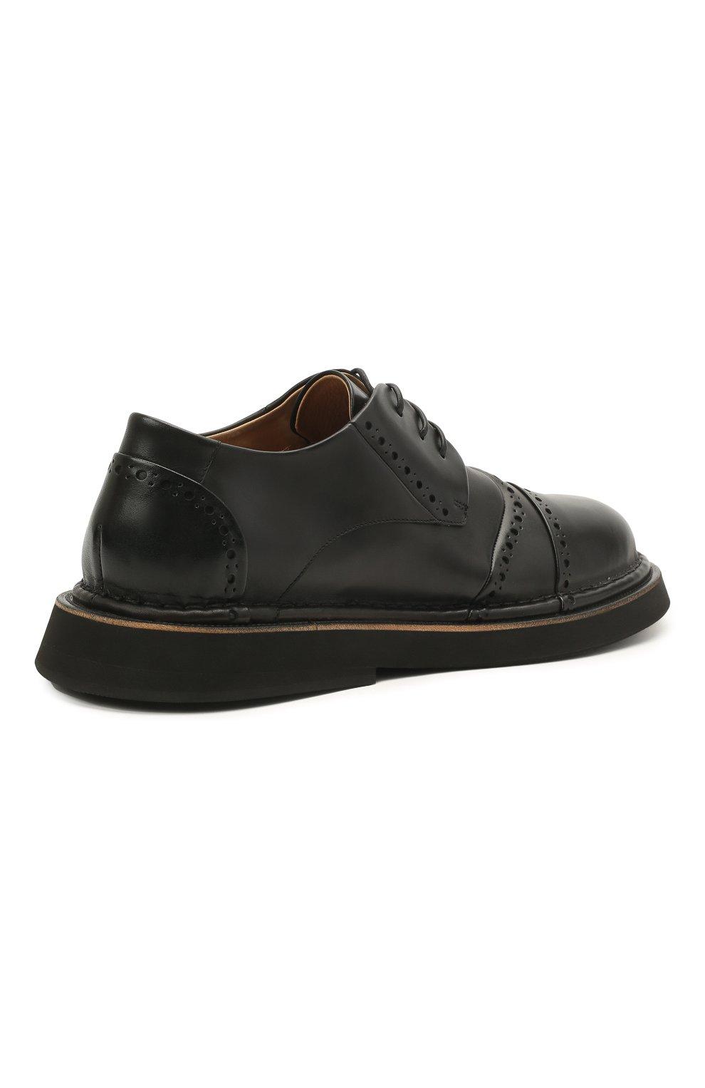 Мужские кожаные дерби MARSELL черного цвета, арт. MM4202/PELLE VITELL0   Фото 4 (Мужское Кросс-КТ: Броги-обувь; Материал внутренний: Натуральная кожа; Стили: Классический)