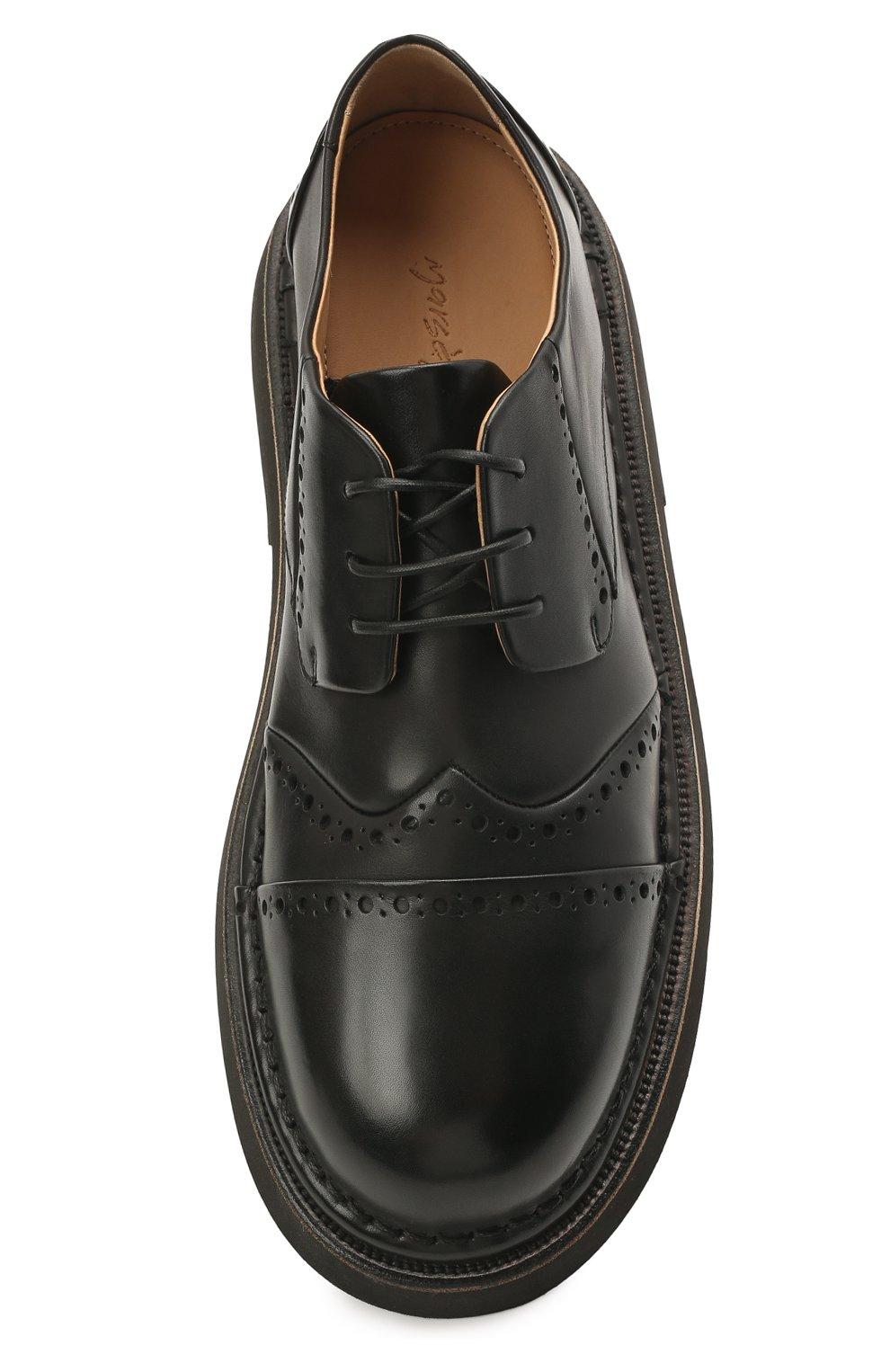 Мужские кожаные дерби MARSELL черного цвета, арт. MM4202/PELLE VITELL0   Фото 5 (Мужское Кросс-КТ: Броги-обувь; Материал внутренний: Натуральная кожа; Стили: Классический)