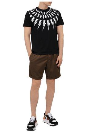 Мужские хлопковые шорты NEIL BARRETT хаки цвета, арт. PBPA832/Q011 | Фото 2