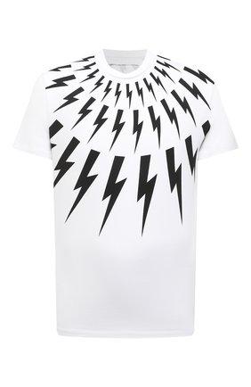 Мужская хлопковая футболка NEIL BARRETT белого цвета, арт. PBJT890S/Q509S | Фото 1