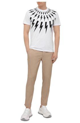 Мужская хлопковая футболка NEIL BARRETT белого цвета, арт. PBJT890S/Q509S | Фото 2