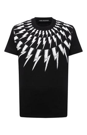Мужская хлопковая футболка NEIL BARRETT черного цвета, арт. PBJT883S/Q516S | Фото 1