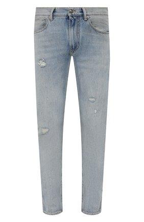 Мужские джинсы RALPH LAUREN голубого цвета, арт. 790825009 | Фото 1 (Материал внешний: Хлопок; Кросс-КТ: Деним; Стили: Кэжуэл; Силуэт М (брюки): Прямые; Детали: Потертости; Длина (брюки, джинсы): Стандартные)
