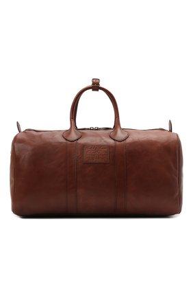 Мужская кожаная дорожная сумка POLO RALPH LAUREN коричневого цвета, арт. 405729056   Фото 1 (Материал: Натуральная кожа; Ремень/цепочка: На ремешке)