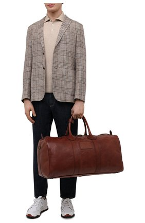 Мужская кожаная дорожная сумка POLO RALPH LAUREN коричневого цвета, арт. 405729056   Фото 2 (Материал: Натуральная кожа; Ремень/цепочка: На ремешке)