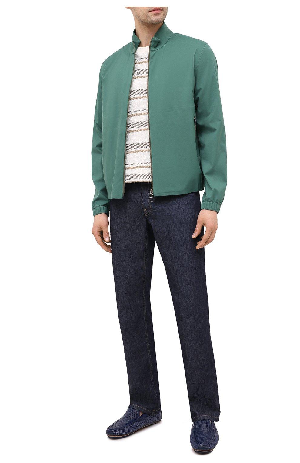Мужские кожаные мокасины ZILLI синего цвета, арт. MDV-M053/001 | Фото 2