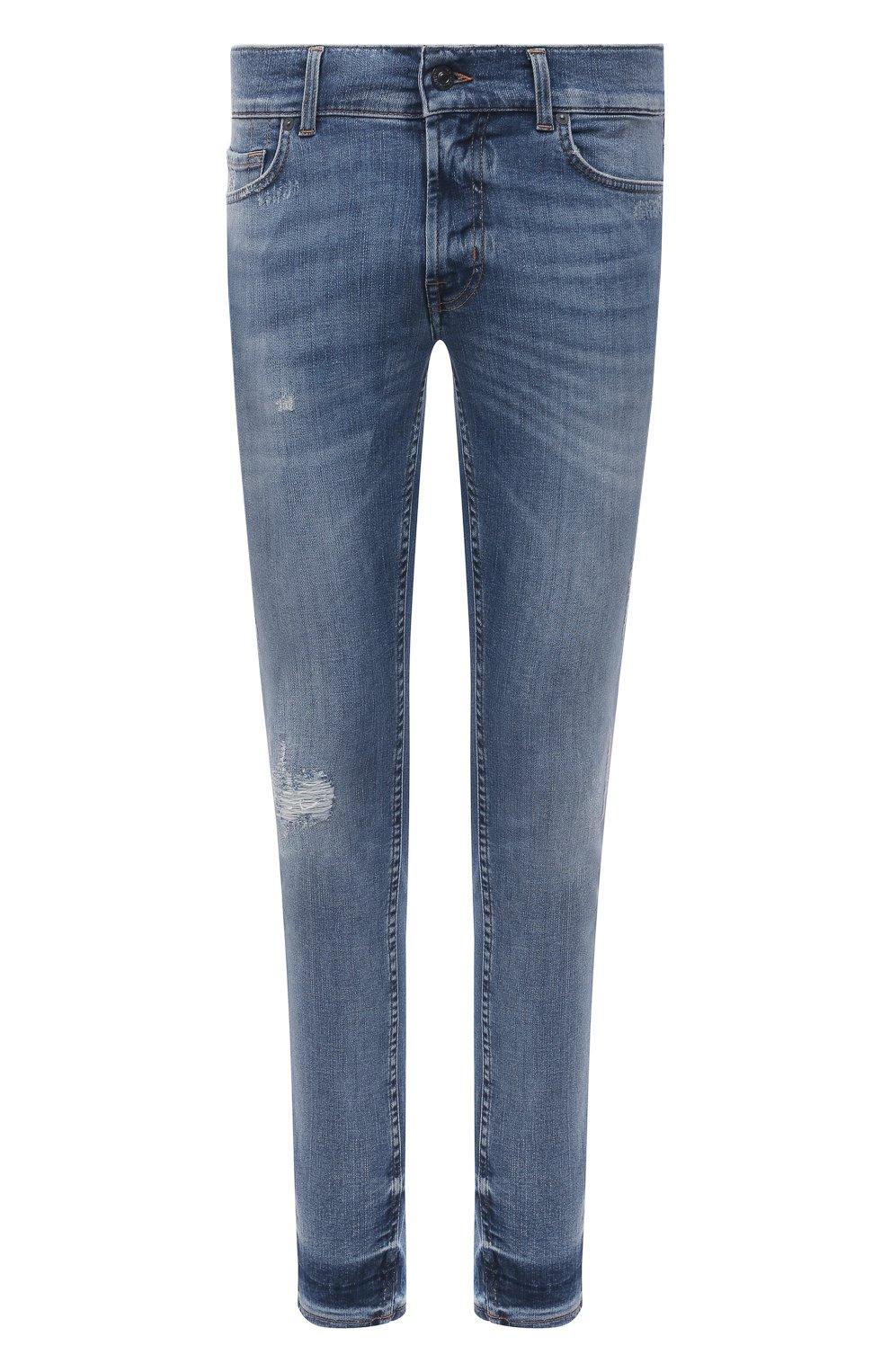 Мужские джинсы 7 FOR ALL MANKIND синего цвета, арт. JSMVB500PH   Фото 1 (Силуэт М (брюки): Узкие; Кросс-КТ: Деним; Длина (брюки, джинсы): Стандартные; Стили: Гранж; Материал внешний: Хлопок; Детали: Потертости)