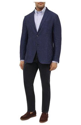 Мужская хлопковая рубашка PAUL&SHARK голубого цвета, арт. 21413260/C00/48-50 | Фото 2