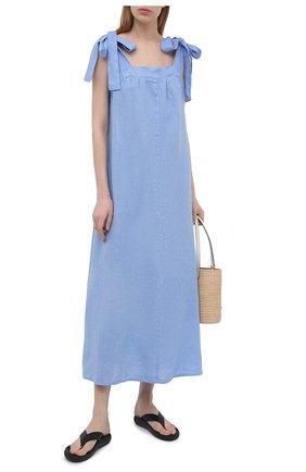 Женское льняное платье LA FABBRICA DEL LINO голубого цвета, арт. 10311 | Фото 2