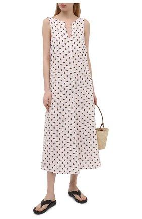 Женское льняное платье LA FABBRICA DEL LINO светло-бежевого цвета, арт. 10334 | Фото 2