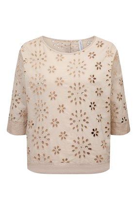 Женская льняная блузка LA FABBRICA DEL LINO бежевого цвета, арт. 10504 | Фото 1