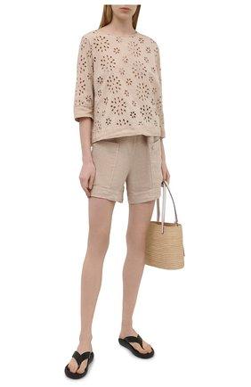 Женская льняная блузка LA FABBRICA DEL LINO бежевого цвета, арт. 10504 | Фото 2
