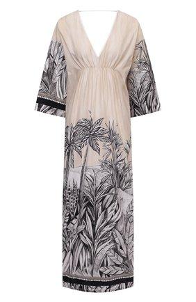 Женское льняное платье LA FABBRICA DEL LINO бежевого цвета, арт. 10323 | Фото 1