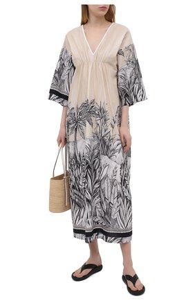 Женское льняное платье LA FABBRICA DEL LINO бежевого цвета, арт. 10323 | Фото 2