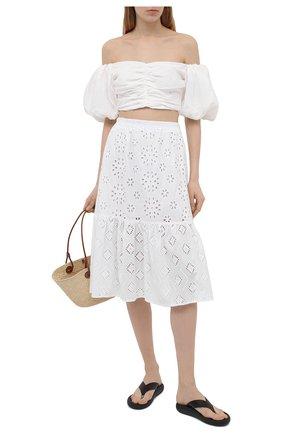Женская хлопковая юбка LA FABBRICA DEL LINO белого цвета, арт. 10202   Фото 2