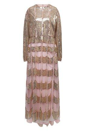 Женское платье с пайетками VALENTINO золотого цвета, арт. VB3VAVA51ED | Фото 1