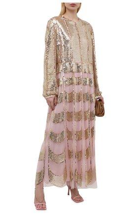 Женское платье с пайетками VALENTINO золотого цвета, арт. VB3VAVA51ED | Фото 2