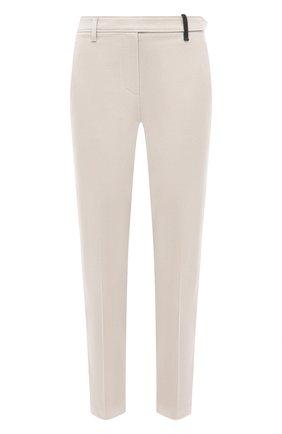Женские хлопковые брюки BRUNELLO CUCINELLI бежевого цвета, арт. M0F70P6572 | Фото 1