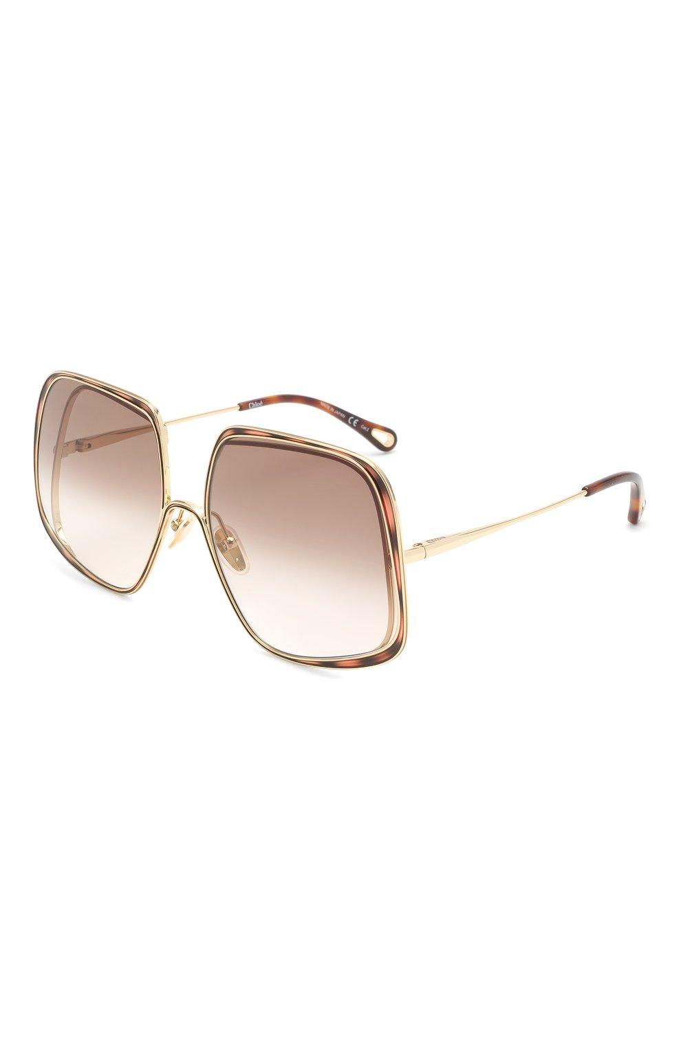 Женские солнцезащитные очки CHLOÉ коричневого цвета, арт. CH0035S | Фото 1