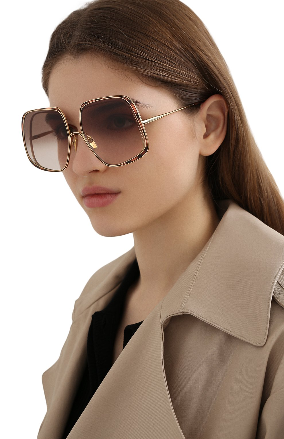 Женские солнцезащитные очки CHLOÉ коричневого цвета, арт. CH0035S | Фото 2