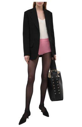 Женские шерстяные шорты BALMAIN розового цвета, арт. VF2CB005/K255 | Фото 2 (Женское Кросс-КТ: Шорты-одежда; Материал внешний: Шерсть; Длина Ж (юбки, платья, шорты): Мини; Кросс-КТ: Трикотаж; Стили: Гламурный)