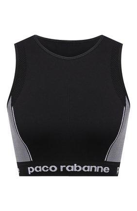Женский бра-топ PACO RABANNE черно-белого цвета, арт. 19EJT0004PA0135 | Фото 1