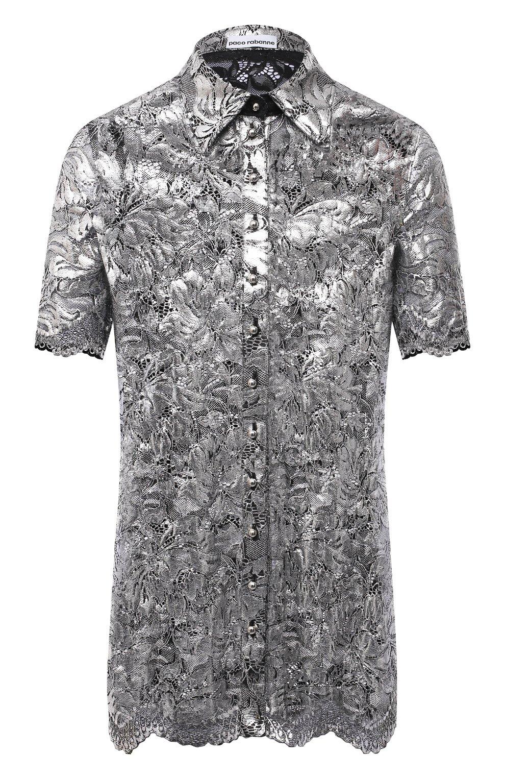 Женская блузка PACO RABANNE серебряного цвета, арт. 21EJCE057PA0173   Фото 1 (Принт: Без принта; Рукава: Короткие; Материал внешний: Синтетический материал; Длина (для топов): Удлиненные; Стили: Романтичный; Женское Кросс-КТ: Блуза-одежда)