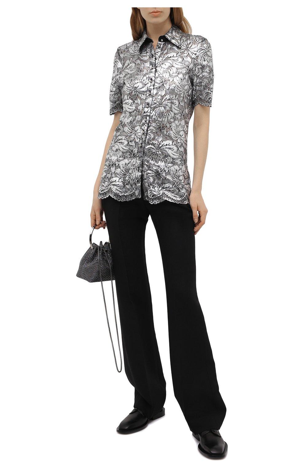 Женская блузка PACO RABANNE серебряного цвета, арт. 21EJCE057PA0173   Фото 2 (Принт: Без принта; Рукава: Короткие; Материал внешний: Синтетический материал; Длина (для топов): Удлиненные; Стили: Романтичный; Женское Кросс-КТ: Блуза-одежда)