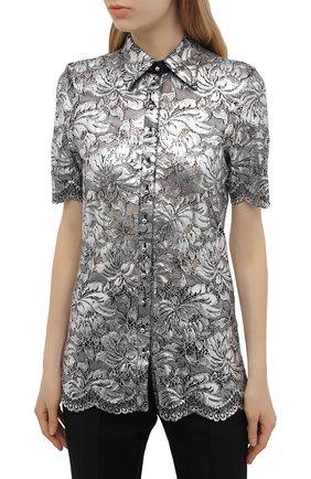 Женская блузка PACO RABANNE серебряного цвета, арт. 21EJCE057PA0173   Фото 3 (Принт: Без принта; Рукава: Короткие; Материал внешний: Синтетический материал; Длина (для топов): Удлиненные; Стили: Романтичный; Женское Кросс-КТ: Блуза-одежда)