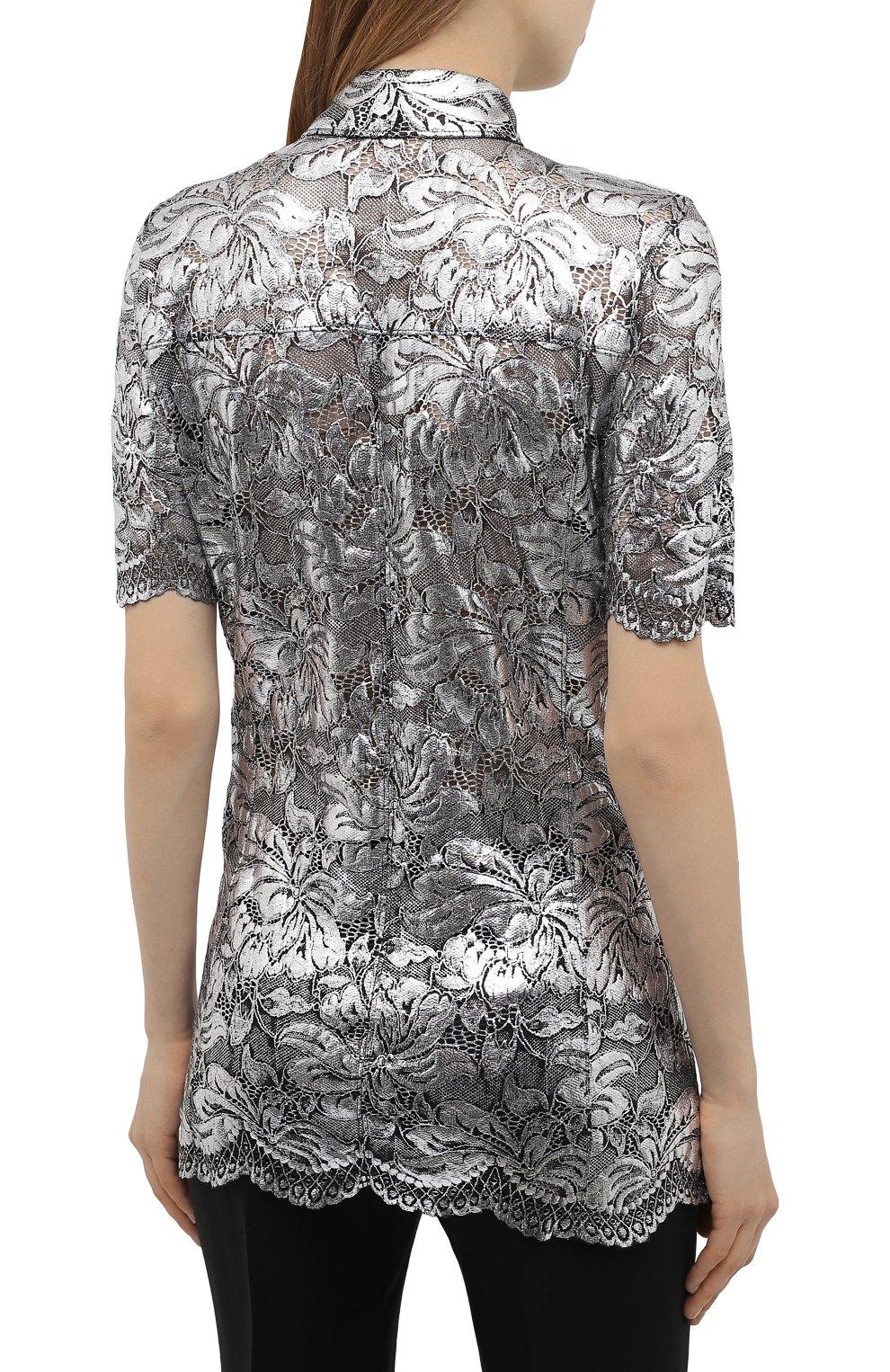 Женская блузка PACO RABANNE серебряного цвета, арт. 21EJCE057PA0173   Фото 4 (Принт: Без принта; Рукава: Короткие; Материал внешний: Синтетический материал; Длина (для топов): Удлиненные; Стили: Романтичный; Женское Кросс-КТ: Блуза-одежда)