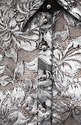 Женская блузка PACO RABANNE серебряного цвета, арт. 21EJCE057PA0173   Фото 5 (Принт: Без принта; Рукава: Короткие; Материал внешний: Синтетический материал; Длина (для топов): Удлиненные; Стили: Романтичный; Женское Кросс-КТ: Блуза-одежда)