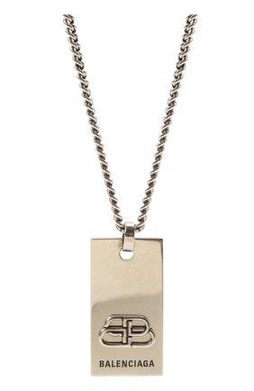 Женская кулон на цепочке bb BALENCIAGA серебряного цвета, арт. 593537/TZ99I | Фото 2 (Материал: Металл)
