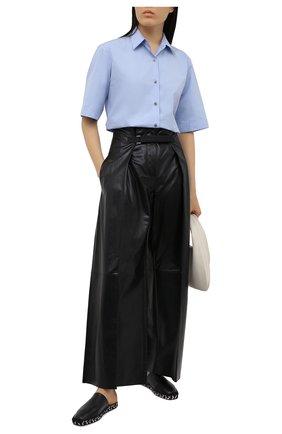 Женские кожаные брюки JIL SANDER черного цвета, арт. JSWS653076-WSL01011 | Фото 2