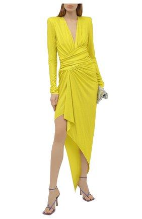 Женское платье из вискозы ALEXANDRE VAUTHIER желтого цвета, арт. 211DR1411B 1029B-202 | Фото 2