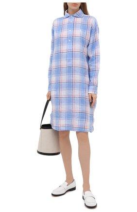 Женское льняное платье POLO RALPH LAUREN голубого цвета, арт. 211838197 | Фото 2