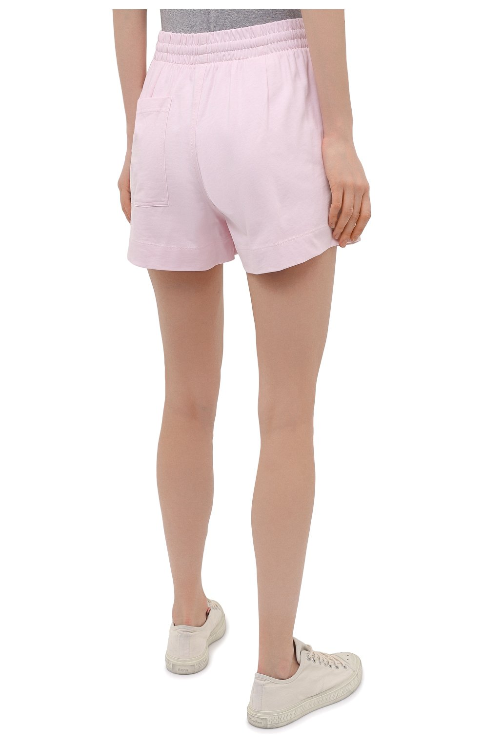 Женские хлопковые шорты DRIES VAN NOTEN светло-розового цвета, арт. 211-11120-2603 | Фото 4 (Женское Кросс-КТ: Шорты-одежда; Длина Ж (юбки, платья, шорты): Мини; Материал внешний: Хлопок; Стили: Спорт-шик; Материал подклада: Хлопок)