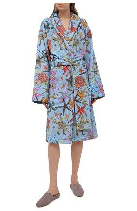 Женский хлопковый халат VERSACE голубого цвета, арт. ZACJ00060/ZC0SP130 | Фото 2