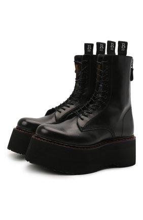 Женские кожаные ботинки R13 черного цвета, арт. R13S0003-018   Фото 1