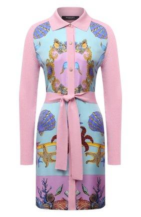 Женский кардиган из шелка и хлопка VERSACE светло-розового цвета, арт. A89166/A237543 | Фото 1