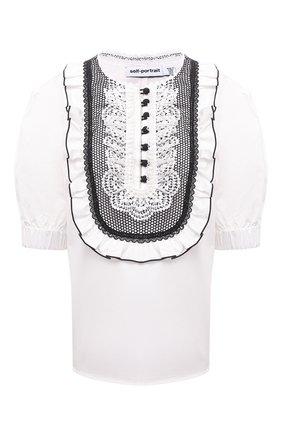 Женская хлопковая блузка SELF-PORTRAIT белого цвета, арт. SS21-022T | Фото 1