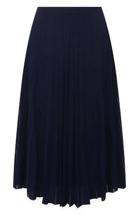 Женская юбка из вискозы RALPH LAUREN синего цвета, арт. 290847204 | Фото 1 (Женское Кросс-КТ: Юбка-одежда; Материал внешний: Вискоза; Материал подклада: Вискоза; Стили: Кэжуэл; Длина Ж (юбки, платья, шорты): Миди, До колена)
