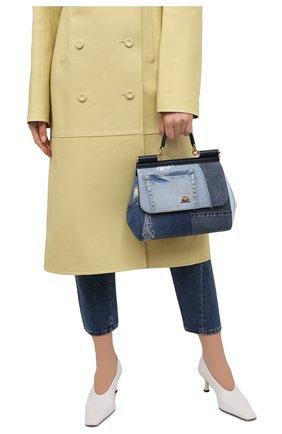 Женская сумка sicily medium DOLCE & GABBANA синего цвета, арт. BB6002/A0621   Фото 2 (Материал: Текстиль, Натуральная кожа; Ремень/цепочка: На ремешке; Сумки-технические: Сумки top-handle, Сумки через плечо; Размер: medium)