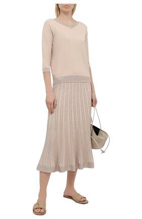 Женская юбка из вискозы D.EXTERIOR бежевого цвета, арт. 52041 | Фото 2