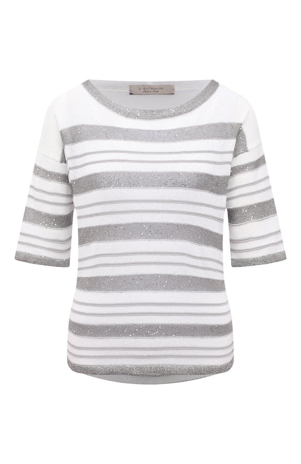 Женский хлопковый пуловер D.EXTERIOR серого цвета, арт. 52318 | Фото 1