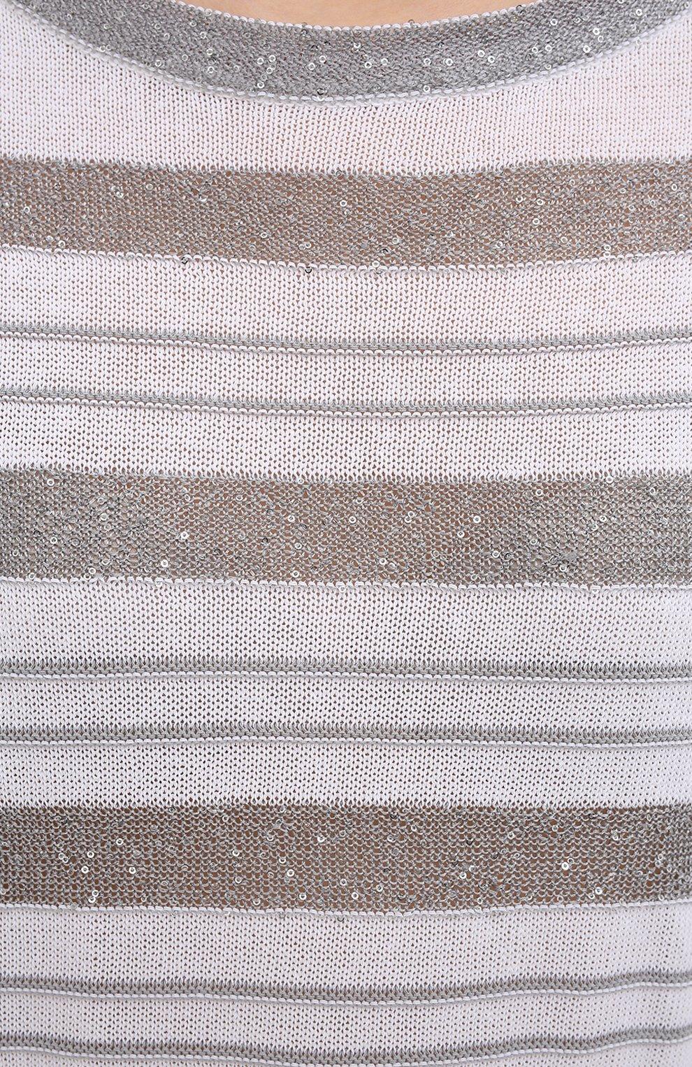 Женский хлопковый пуловер D.EXTERIOR серого цвета, арт. 52318 | Фото 5