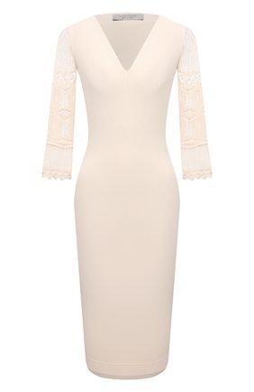 Женское платье из вискозы D.EXTERIOR светло-бежевого цвета, арт. 52339   Фото 1